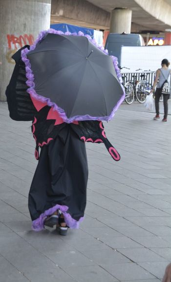 Woman Wearing A Funny Costume Outdoors