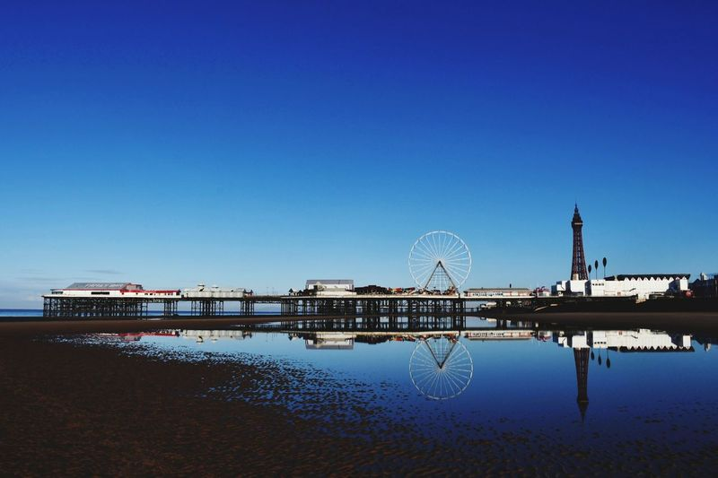Blackpool, Lancashire Blue Sky Sandy Sandy Beach EyeEm Selects Reflection Amusement Park Water Sky Clear Sky Blue Lake