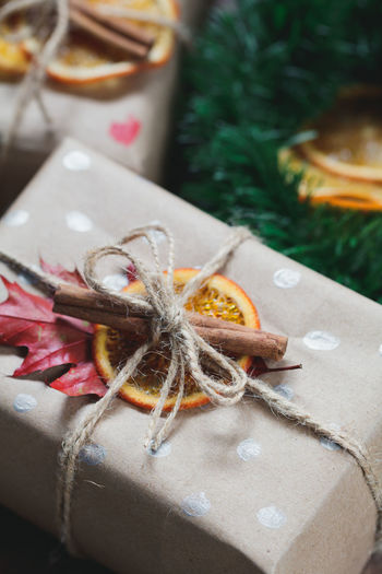 High angle view of christmas gifts on table