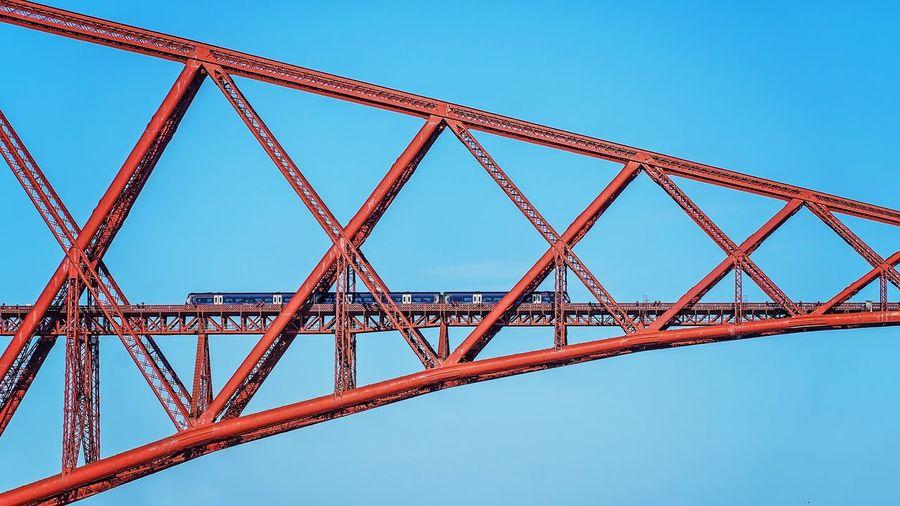 Forth Bridge ForthBridge Bridge Trainbridge Metal Construction Train Scotland City Clear Sky Cityscape Complexity Girder Blue Bridge - Man Made Structure Industry