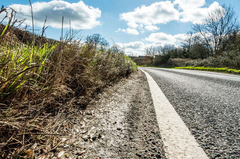 Sunny Day View of Empty UK Country Road Countryside Day Daylight Empty Grass Motorway Nature No People No Traffic Outdoors Road Road Rural Sky Sunny The Way Forward Transportation Tree Uk View
