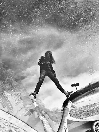EyeEm Best Shots Bw_collection Best EyeEm Shot Reflection Puddle Blackandwhite Full Length Real People Lifestyles Day Sky Fashion Stories Shades Of Winter