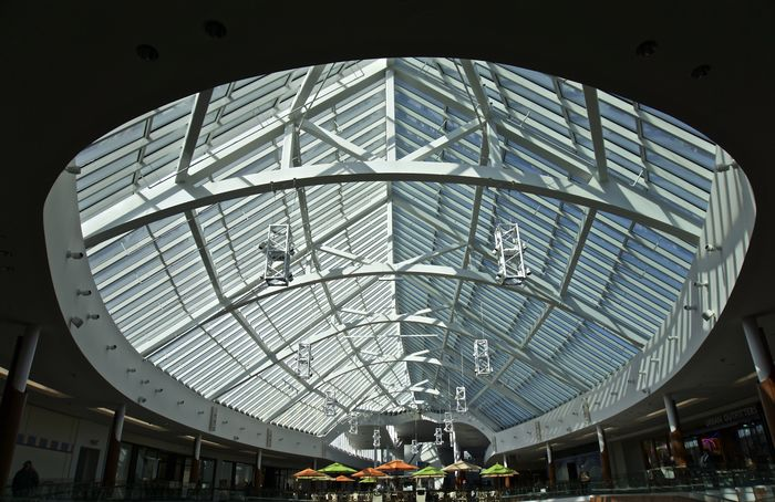 Architecture Building Interior Built Structure Day Indoors  Looking Up At The Sky Mall Modern Sky Light Umbrellas