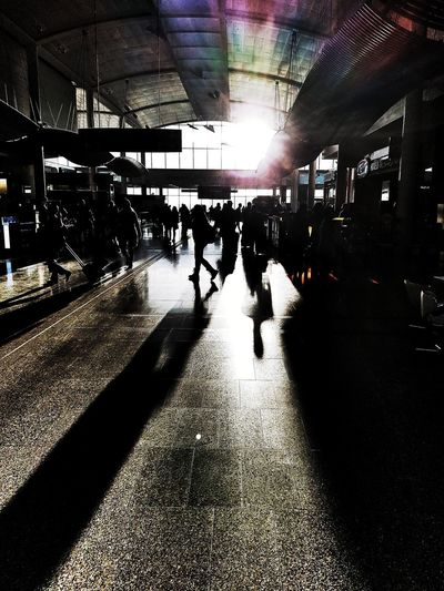I like airports. Airport Toronto Pearson International Airport Large Group Of People People Illuminated Silhouette