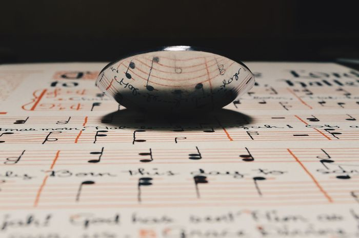 Reflections of music notes in a spoon Education Paper Close-up Shadow No People Indoors  Day Backgrounds Music Sheets Music Paper Reflection Photography Old Vintage Paper Reflections Reflection Spoon Vintage Musical Notes Music Notes Music Indoors  Black Background Studio Shot