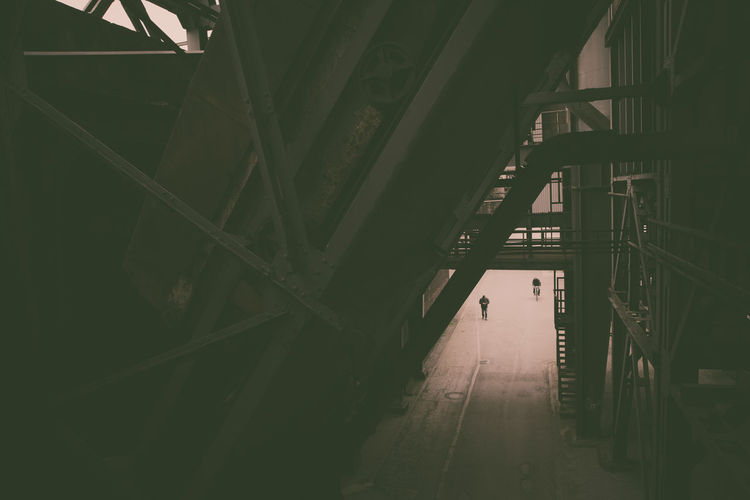 Urbex - 3 Architecture Built Structure Indoors  Transportation Building Bridge Connection Day Incidental People Bridge - Man Made Structure One Person City Diminishing Perspective Direction Industry Railing Low Angle View Ceiling