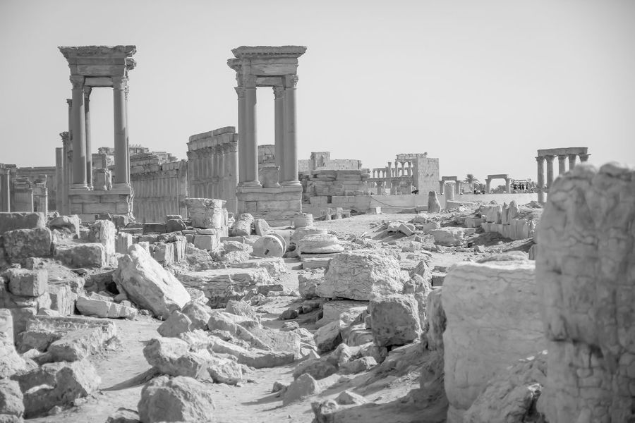 Ancient Roman time town in Palmyra ASIA Archeology Colonnade Desert East Empire Palmyra Ruins Syria  Ancient Ancient Civilization Arabia Architectural Column Architecture Building Exterior Built Structure Clear Sky Day Famous Place History No People Old Ruin Oriental Outdoors Sky Travel Destinations