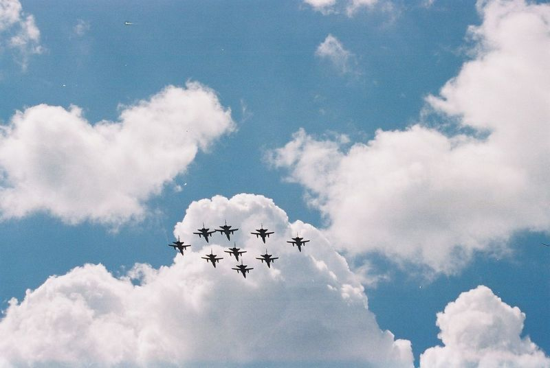 Flypast Aerobatics Air Display  Air Force Airplanes Airshow Annual Event Blue Sky White Clouds Capital City Composition Display Fighter Planes Flying Formation Flying Full Frame GB London Military Airplane Nine No People Outdoor Photography Teamwork Tourist Attraction  Tourist Destination Uk