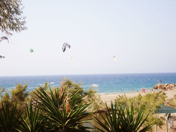 Beauty In Nature Blue Calm Clear Sky Flying In The Sky Horizon Over Water Kitesurfers Kitesurfing Multi Colored Scenics Sea Sea View Blue Sky Blue Sea Sea View... Love It!  Seascape Sky Tranquil Scene Water