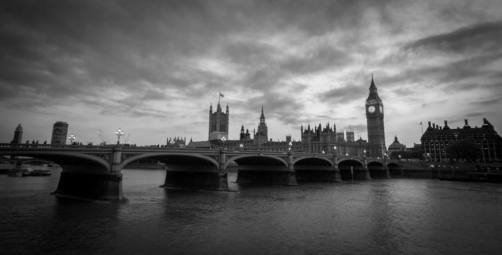 Westminster Bridge Over Thames River Against Sky