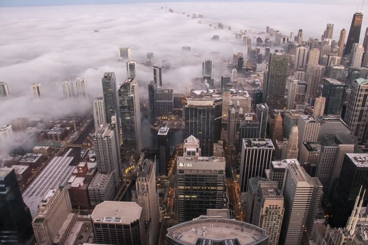 A foggy Chicago cityscape Chicago Cityscape Skyscraper City Architecture Building High Angle View Urban Skyline Sky Tall - High Tower Landscape Aerial View Travel Destinations Modern Outdoors Financial District  Foggy Foggy Morning Cloud - Sky City View  Architecture Aerial Photography Urban City