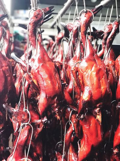 Close-up of red for sale in market