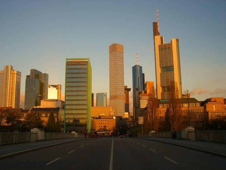 Skyline Sunrise Beautiful Morning Skyline Frankfurt