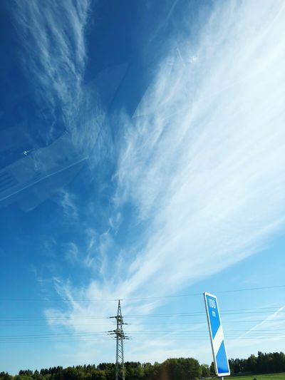 Sky Cloud - Sky Nature Low Angle View Communication Blue Electricity