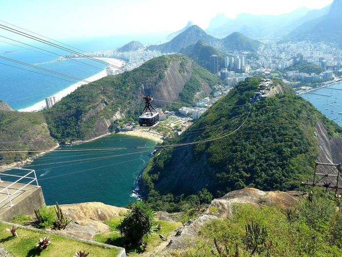 Heels of Rio de Janeiro Mountain High Angle View Cable Day Transportation Nature Mountain Range Beauty In Nature No People Landscape Built Structure Road Architecture Sky Overhead Cable Car Scenics Tree Outdoors Ski Lift Electricity Pylon The Graphic City