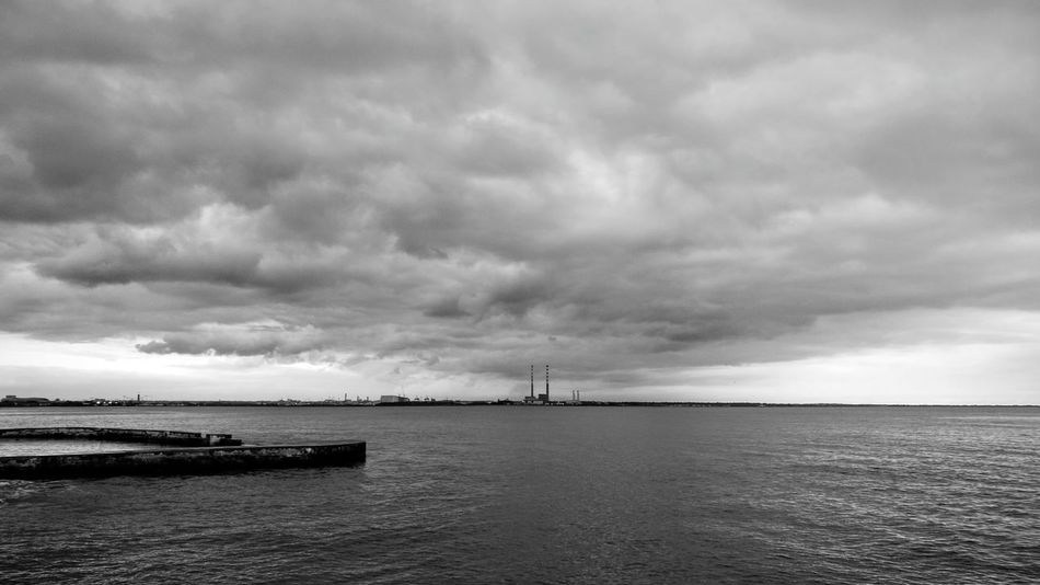 Overcast Sea Cloud - Sky No People Nature Horizon Over Water Dramatic Sky Dublin Bay Dublin, Ireland Dublin Port Dublin At Dusk Chimneys First Eyeem Photo