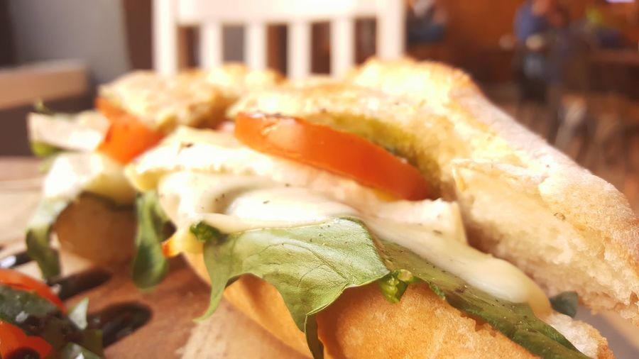 Artisan Food Lunch Toasted Bread Toasted Sandwich Greens Mozzarella Cheese Tomatoe Sandwhich Vegan EyeEm Selects Close-up Food And Drink