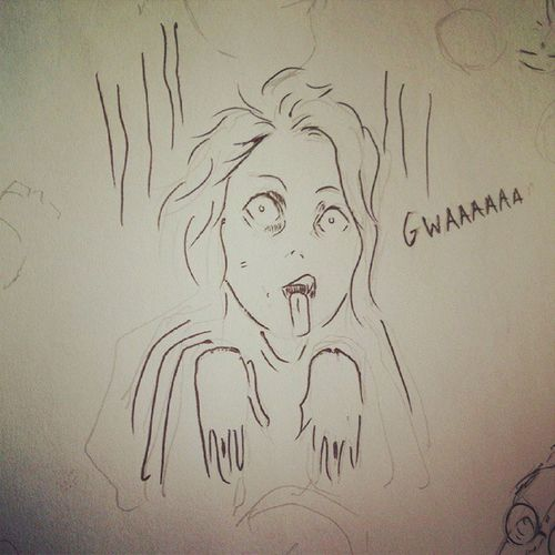 Zombie Zombie Bwaaa Sketch Doodle draw drawing sketching sketchbook anime manga art