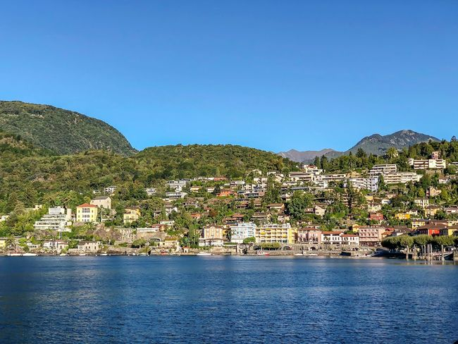 Lago Maggiore Lago Maggiore Ascona Sky Plant Water Tree Nature Clear Sky Blue Copy Space No People Beauty In Nature Growth Day Scenics - Nature Architecture Built Structure Building Exterior Mountain Tranquility Outdoors