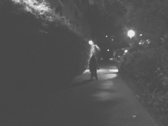 Night City Real People Illuminated Street Walking Unrecognizable Person Motion Incidental People Dark Silhouette