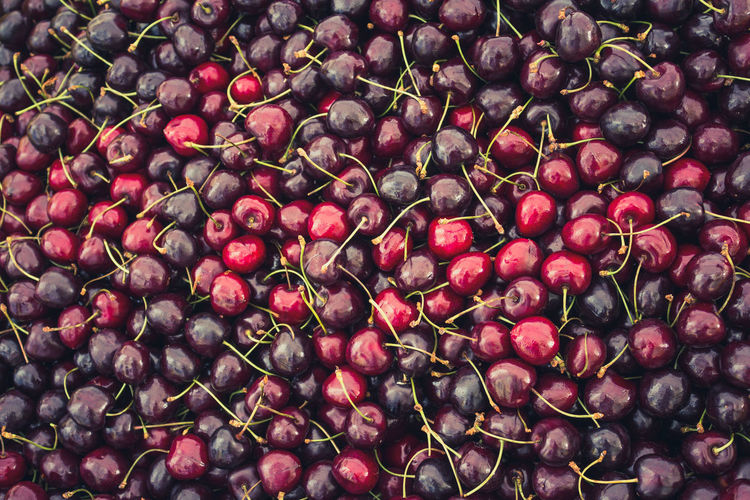 Full frame shot of cherries for sale at market