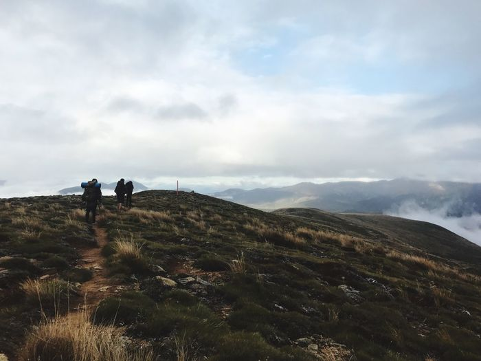 Hiking Mountain Sky Adventure Landscape Nature Real People Cloud - Sky Leisure Activity Two People Beauty In Nature Backpack Lifestyles Walking Day Outdoors Men Travel Tranquility Togetherness