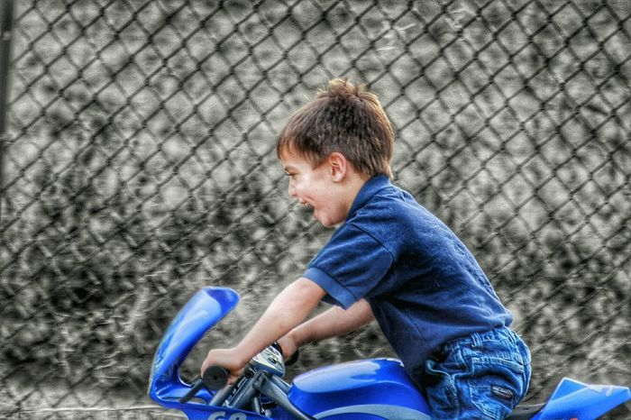 Happy Child  Boy Playing Boy Riding Motorcycle MySON♥ Kids Playing Motorbike Riding  Mobile Photography Mobilephotography Having Fun