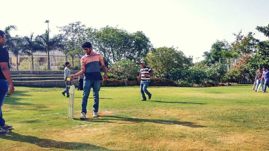 Cricket Field Cricketmatch People Playing Games
