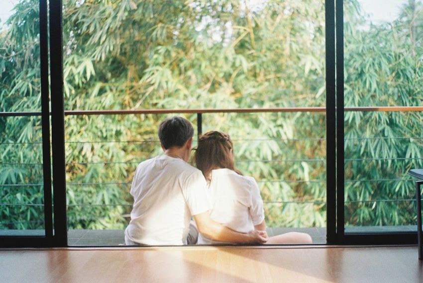 Window Two People Rear View Indoors  Women Relaxation Sitting Day Togetherness Nature Friendship Men Adult Tree Couple Couple - Relationship Beauty In Nature People Nature Real People Adults Only