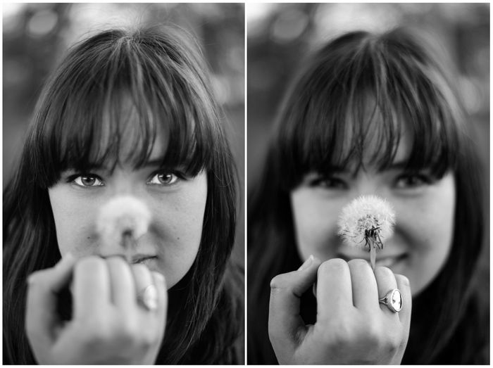 Collage Of Woman Holding Dandelion