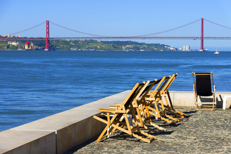 Deck chairs with golden gate bridge in the distance