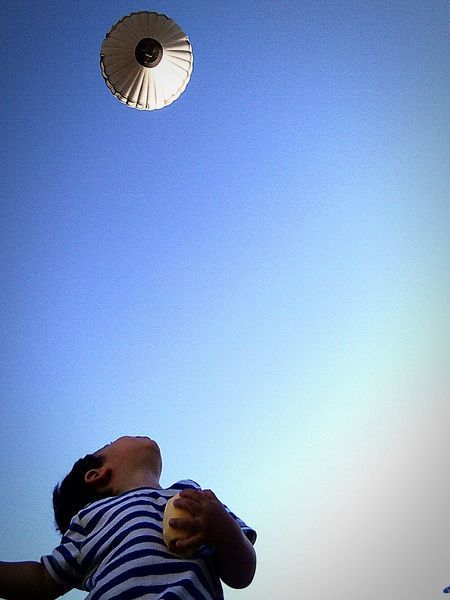 Discovery. Sky People Blue Clear Sky One Person Space Astronomy Outdoors Day Child Hot Air Balloon Architecture Men Low Angle View First Eyeem Photo