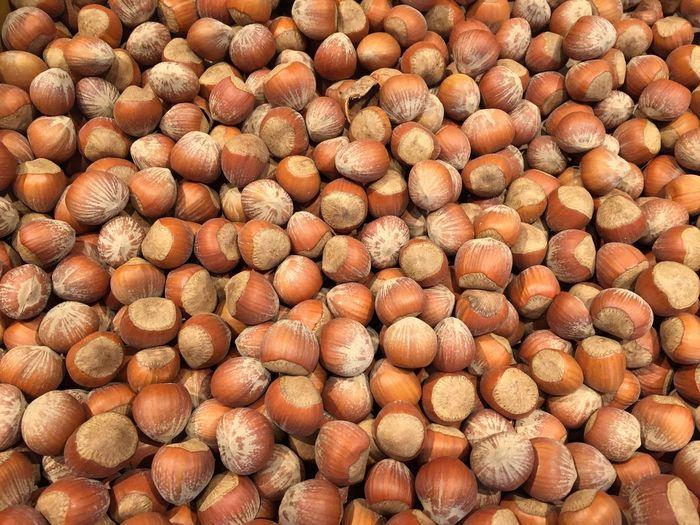 Full frame shot of hazelnuts for sale in market