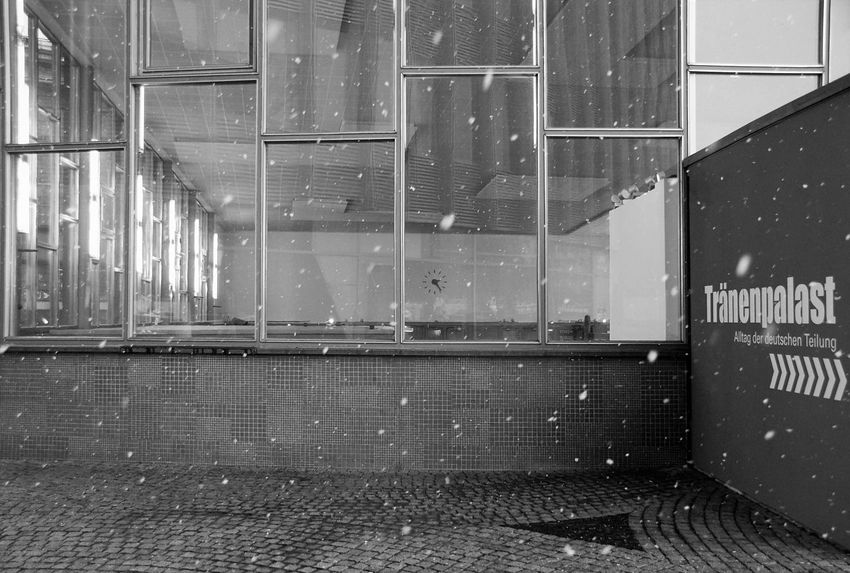 Tränenpalast Tears Exit German History Museum Historical Place Historical Building Black & White Monochrome Photography Blackandwhite Black And White Monochrome Berlin History City No People Snow Window Outdoors