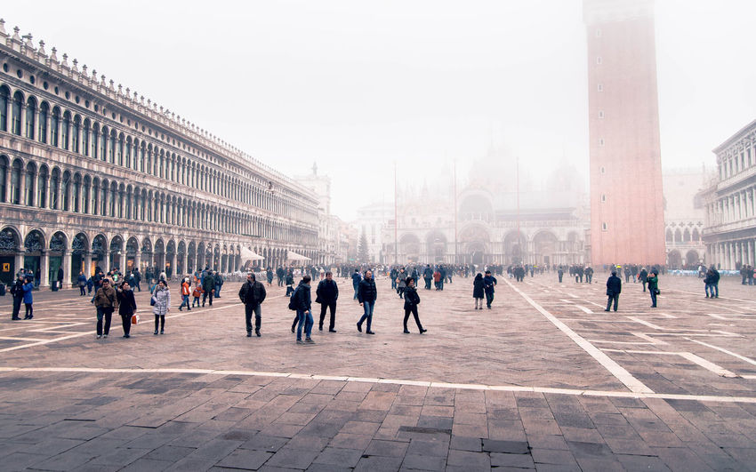 Architecture Building Exterior Group Of People Built Structure Crowd Large Group Of People City Real People Travel Destinations Sky Building Women Walking Travel Day Tourism Nature History Adult Outdoors Architectural Column San Marco Square