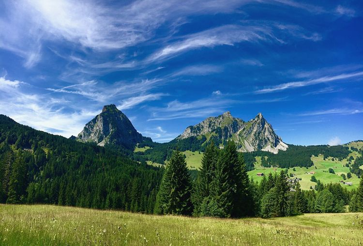 Mountain Mountain Range Mythen Switzerland Schwyz Sky Nature Green Color Landscape Tree Outdoors Awesome