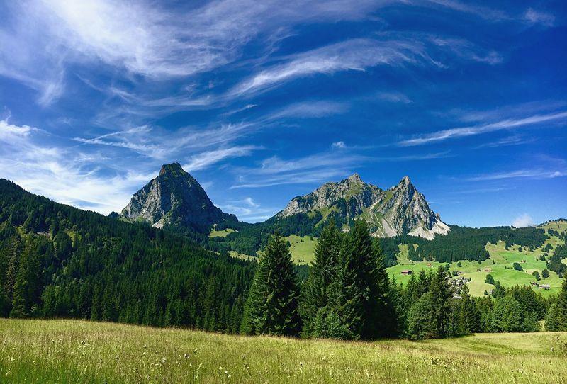 Mountain Mountain Range Mythen Switzerland Schwyz Sky Nature Green Color Landscape Tree Outdoors Awesome