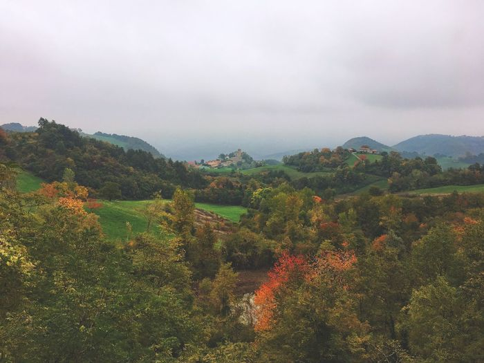 Scenic View Of Landscape Against Sky During Autumn At Pavullo Nel Frignano