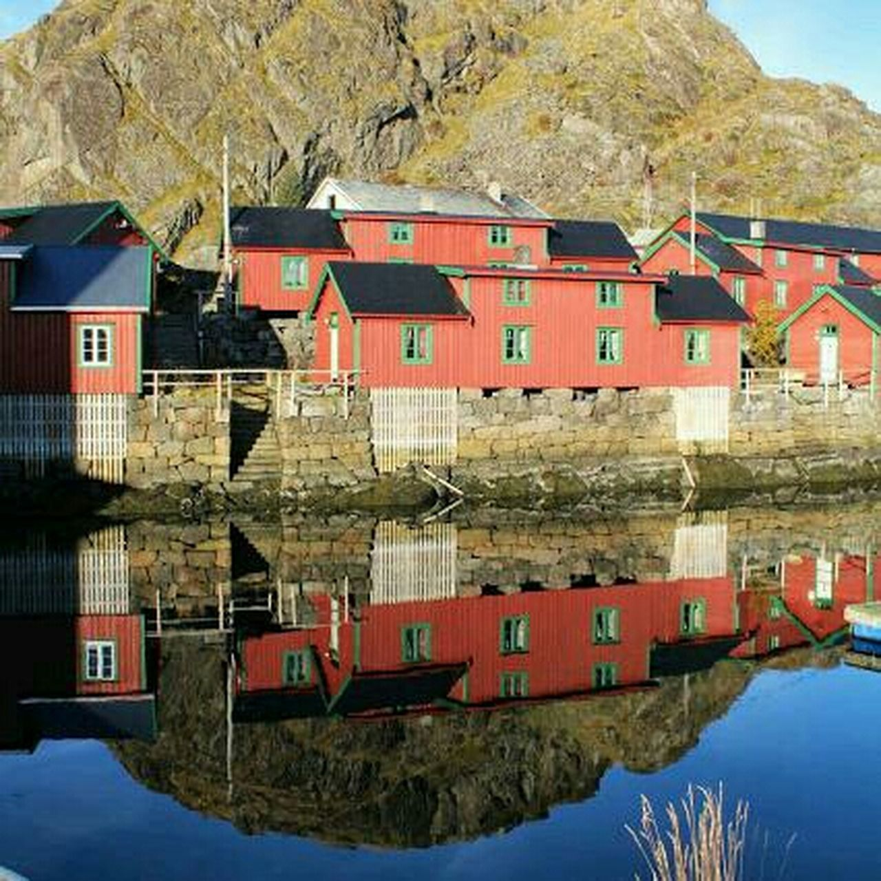 mountain, built structure, house, reflection, building exterior, no people, outdoors, architecture, water, day, sky, nature