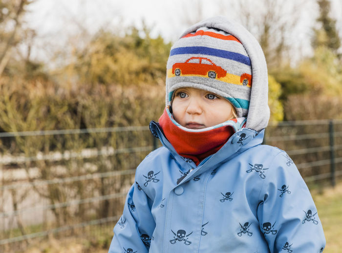 Close-Up Of Baby Wearing Warm Clothing