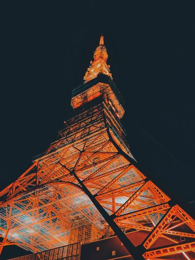 Beautiful beast! Red Sightseeing Signal Connectivity Landmark Tower Tokyo Tokyo Tower Architecture Engineering Structure Beautiful Building Architectural Column Night Low Angle View Architecture Built Structure Illuminated Tower Tall - High Sky Travel Destinations Tourism Building Exterior
