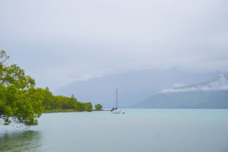 a landscape in New Zealand : a rainy day in Glenorchy. Portfolio Of Arif Wibowo Photograph By Jgawibowo Portfolio Of Jgawibowo Photography By Jgawibowo Clouds And Sky Rainy Days Rainy Day Glenorchy, NZ Snowcapped Mountain Glacier Wharf Tree Water Nautical Vessel Mountain Sea Sky Landscape Foggy Seascape
