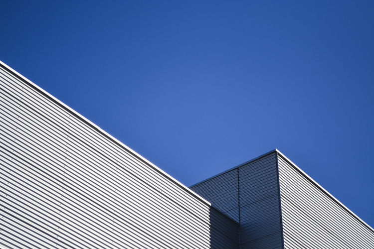 Sky Architecture Built Structure Building Exterior Clear Sky Blue Low Angle View Building Copy Space Modern Nature Day Sunlight Pattern No People City Sunny Outdoors Office High Section Office Building Exterior Silver Colored