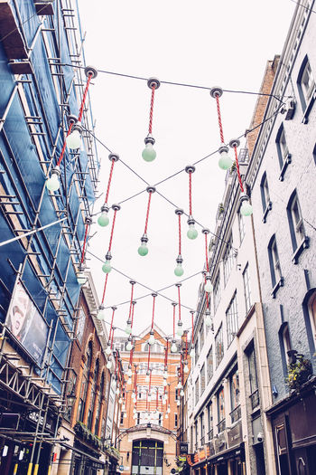 London Architecture Building Exterior Built Structure Carnaby Street City Decoration Hanging Light Lighting Equipment Low Angle View No People Outdoors Pendant Light Sky Street Adventures In The City