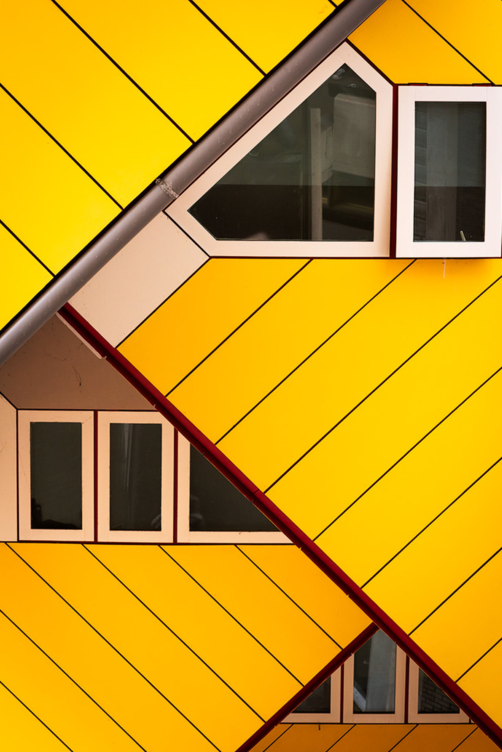yellow, architecture, built structure, building exterior, window, building, no people, day, outdoors, house, sunlight, glass - material, nature, residential district, full frame, low angle view, reflection, shadow, orange color, geometric shape