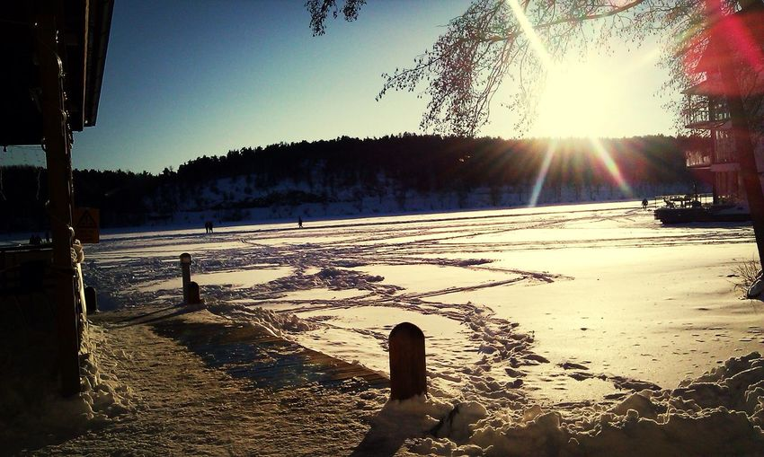 Sunset Winter Sweden Nature