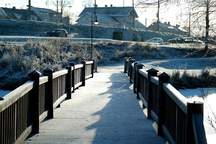 Railing Outdoors Wood - Material Bridge - Man Made Structure Cold Temperature Clear Sky Waterfront River Norge🇳🇴 Norway🇳🇴 Årnes Frozen Built Structure EyeEmNewHere Pretty Lost In The Landscape