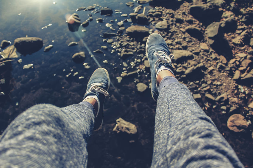 Jump Fitness Perspective Water Summer Adventure Casual Clothing Shoes Leg Skin Shore Sole Of Shoe Rushing Personal Perspective Pebble Beach Puddle Horizon Over Water Sunset Foot Hiker Calm Pebble Autumn Mood This Is Strength