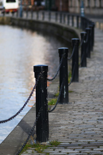 Water Focus On Foreground Architecture Post Rope Connection No People Bollard Built Structure Day In A Row Metal Transportation Railing Footpath River Nature Outdoors Wood - Material Wooden Post Edinburgh