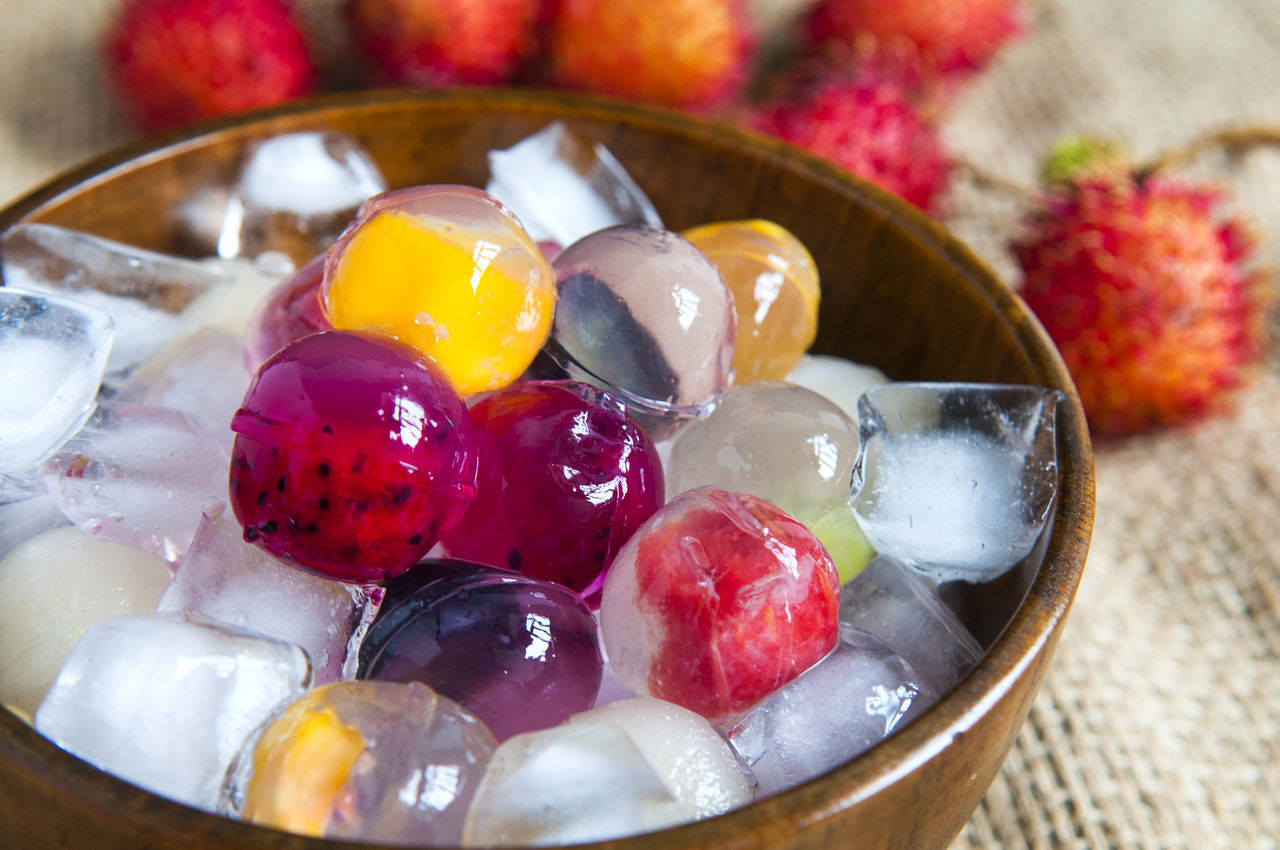 Close-Up Of Fruit Jelly In Bowl On Table